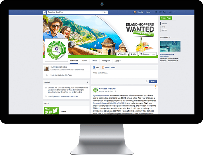 For CareerOne RADAR developed an integrated Facebook Page