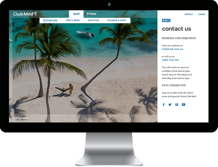 Club Med approached RADAR to create an immersive, brand website to position Club Med as a premium brand