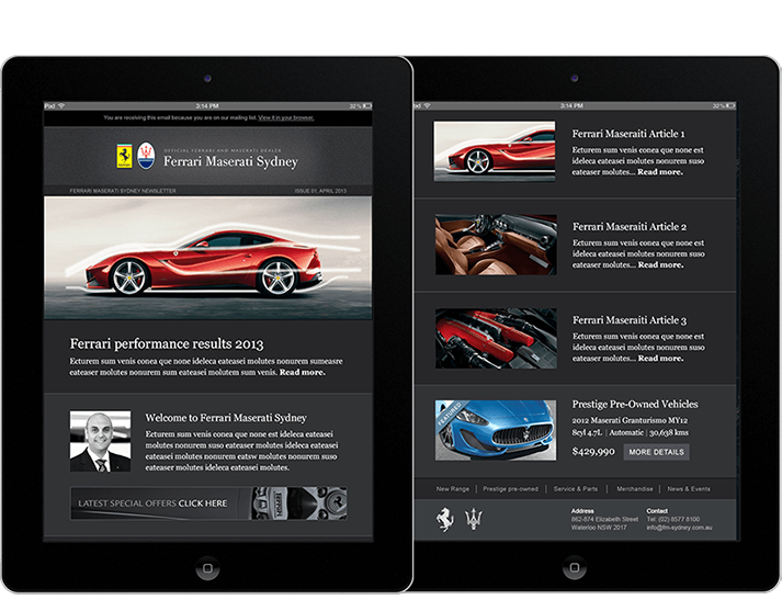 Ferrari Maserati engaged RADAR to develop a visually appealing and immersive new website