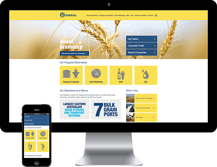 For GrainCorp RADAR was engaged to build a new mobile responsive website